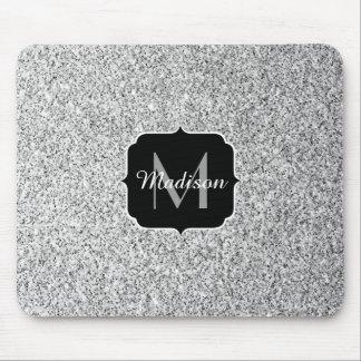 Härlig Monogram för silverglittersparkles Musmatta