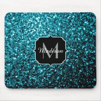 Härlig Monogram för sparkles för Aquablåttglitter Mus Mattor