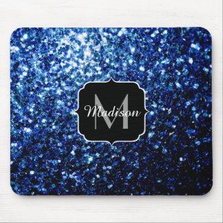 Härlig mörk - Monogram för blåttglittersparkles Musmatta