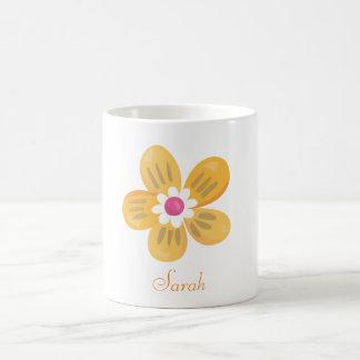 Härlig orange blomma kaffemugg