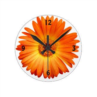 Härlig orange- och gultGerberadaisy Rund Klocka