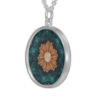 Härlig paradisChrysanthemum av orangen & Aqua Sterling Silver Halsband