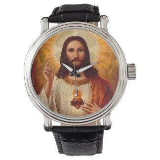 Härlig religiös sakral hjärta av Jesus avbildar Armbandsur