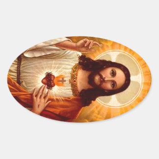 Härlig religiös sakral hjärta av Jesus avbildar Ovalt Klistermärke