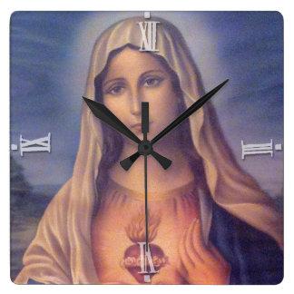 Härlig religiös sakral hjärta av jungfruliga Mary Fyrkantig Klocka