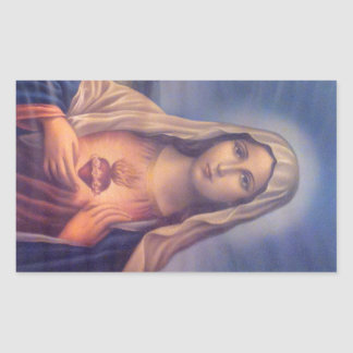 Härlig religiös sakral hjärta av jungfruliga Mary Rektangulärt Klistermärke