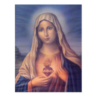 Härlig religiös sakral hjärta av jungfruliga Mary Vykort
