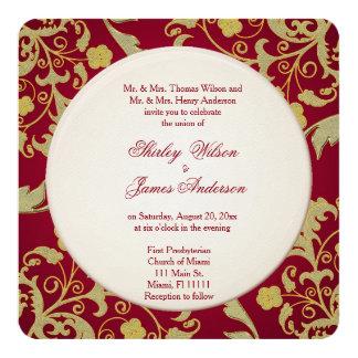 Härlig röd och guld- bröllopinbjudan fyrkantigt 13,3 cm inbjudningskort