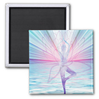 Härlig rosa- & blåttVrikshasana Yoga