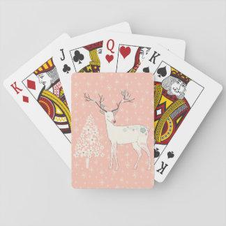 Härlig rosa ren och snöflingor spel kort