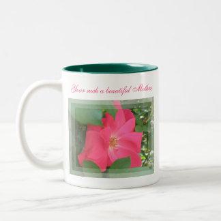 Härlig rosa rosmormugg Två-Tonad mugg