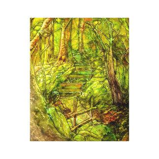 Härlig skogsmarkaffisch på sträckt kanfas canvastryck