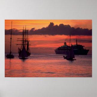 Härlig solnedgång: Bridgetown hamn, Barbados Poster