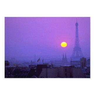 Härlig solnedgång: Röd solnedgång på Paris och 12,7 X 17,8 Cm Inbjudningskort