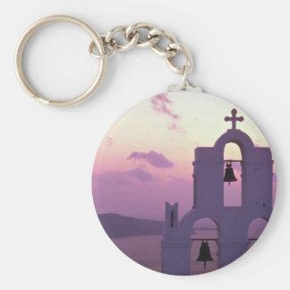 Härlig solnedgång: Santorini Fira på solnedgången, Rund Nyckelring
