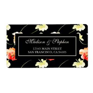 Härlig svart blommigt - bröllop fraktsedel