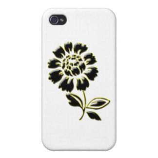 Härlig svart guld- pion iPhone 4 cover
