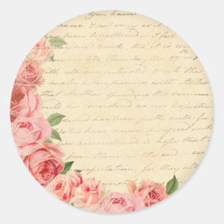 Härlig vintagerosa ros och flickaktigt runt klistermärke