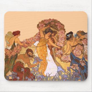 Härliga art nouveaukvinnor med Irises och ro Musmattor
