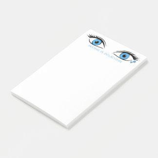 Härliga blåttögon med malltext på bästa post-it block