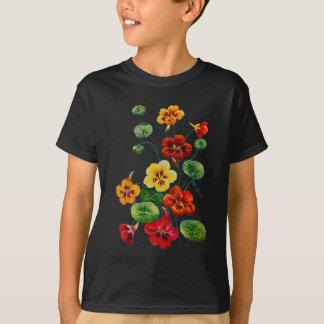 Härliga färgrika broderade Nasturtiums T-shirts