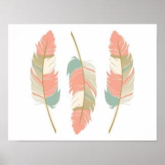 Härliga fjädrar i Mintgrönt och korall Poster