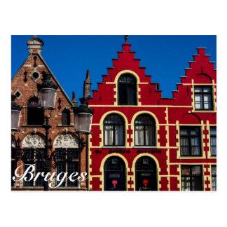 Härliga Markt kvadrerar av den Bruges vykortet Vykort