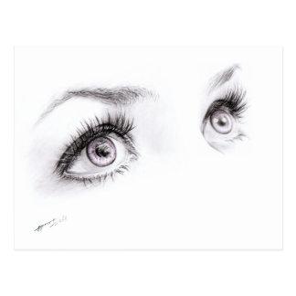 Härliga ögon som drar den minimalist konstvykortet vykort