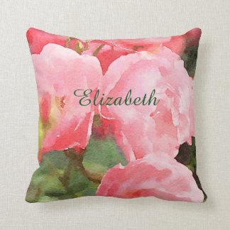 Härliga rosa engelska roblommor för vattenfärg kudde