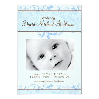 Härliga rullor - babyen Annoucement - blått 12,7 X 17,8 Cm Inbjudningskort