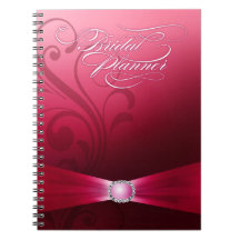 Härliga shock rosa för krusidullbröllopsfixaren   spiralbundna anteckningsböcker