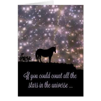 Härliga stjärnor och hästen som är tänkande av hälsningskort