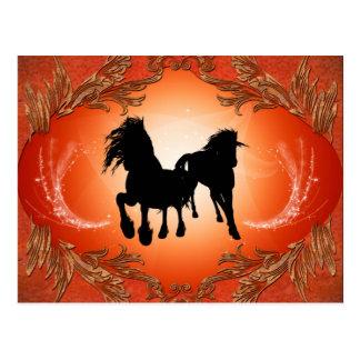 Härliga svart hästtatueringar vykort