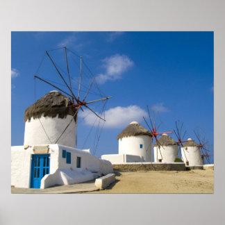 Härliga windmills på ön av Mykonos, Poster