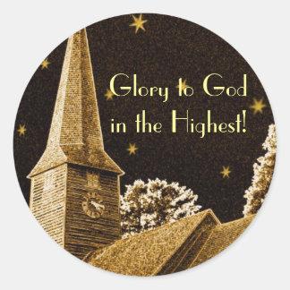 Härlighet till guden i det högst! runt klistermärke