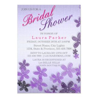 Härligt blom- LinenPurple möhippabröllop 12,7 X 17,8 Cm Inbjudningskort
