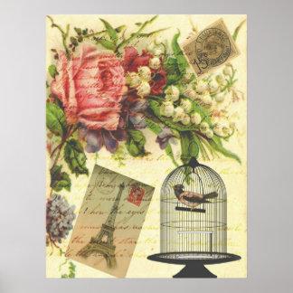 Härligt flickaktigt Eiffel för vintageroblommor to Poster