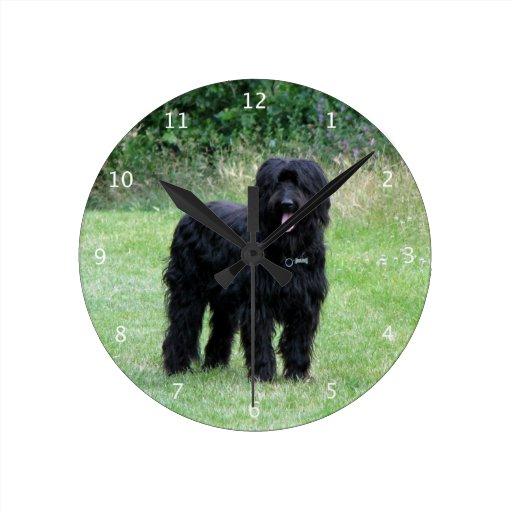 Härligt foto för Briard hund Väggklockor