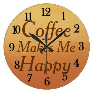 Härligt kaffe gör mig lyckligt kök stor klocka