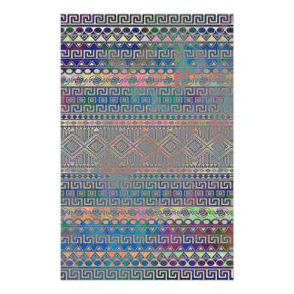 Härligt kallt färgglatt Aztec geometriskt mönster Brevpapper
