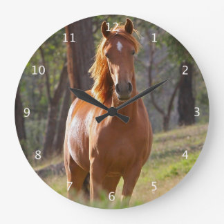 Härligt kastanjebrunt hästfotoporträtt, gåva klocka