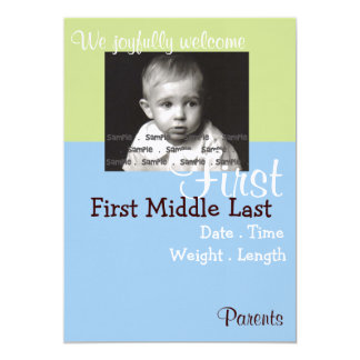 Härligt meddelande för pojkefotofödelse 12,7 x 17,8 cm inbjudningskort