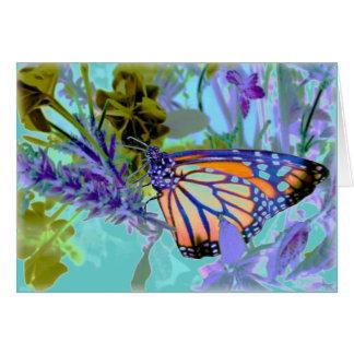 Härligt neonfjärilskort hälsningskort
