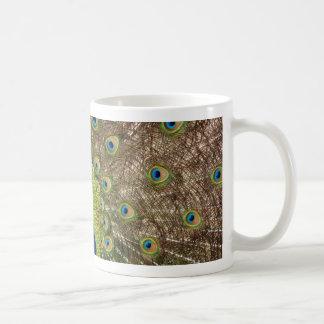 Härligt påfågel- och svanfjädertryck kaffemugg