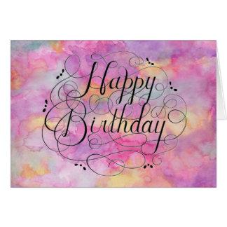 Härligt pastellfärgat vattenfärgfödelsedagkort OBS kort