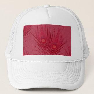 Härligt rosa påfågelfjädermönster keps