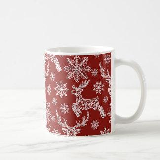 Härligt rött julmönster vit mugg
