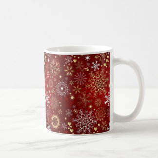 Härligt rött, vit och guld- jul vit mugg