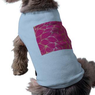 Härligt shock rosa, fauxguld, löv, mönster, husdjurströja