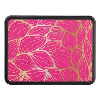 Härligt shock rosa, fauxguld, löv, mönster, skydd för dragkrok